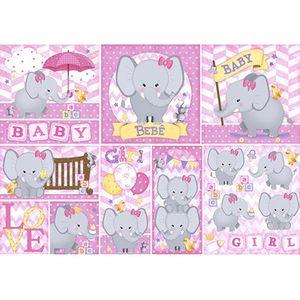 Papel-Decoupage-49x34-Elefante-Baby-Girl-PD584N---Litoarte