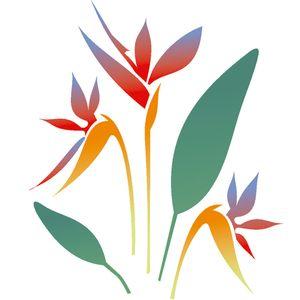 Estencil-para-Pintura-Simples-305X305-Flor-Strelitzia-OPA2092---Opa