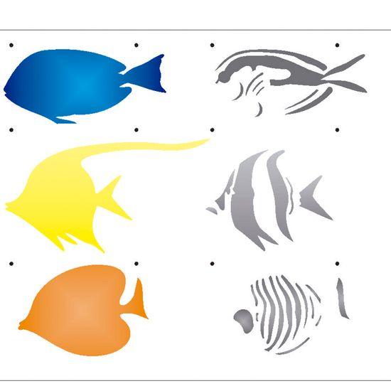 Estencil-para-Pintura-Simples-20X25-Peixes-III-OPA2079---Opa