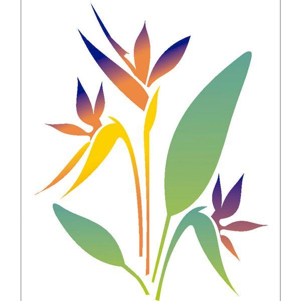 Estencil-para-Pintura-Simples-20X25-Flor-Strelitzia-OPA2065---Opa
