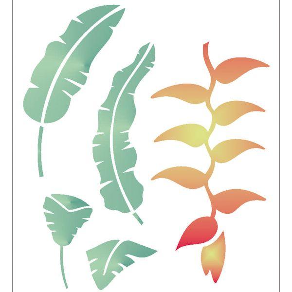 Estencil-para-Pintura-Simples-20X25-Flor-Heliconia-OPA2063---Opa