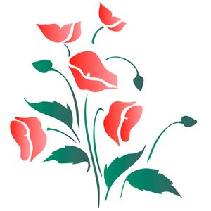 Estencil-para-Pintura-Simples-20X25-Flores-Papoulas-OPA1047---Opa