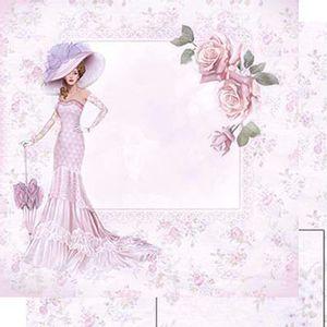 Papel-Scrapbook-Dupla-Face-Dama-de-Vestido-Rosa-SD-460---Litoarte