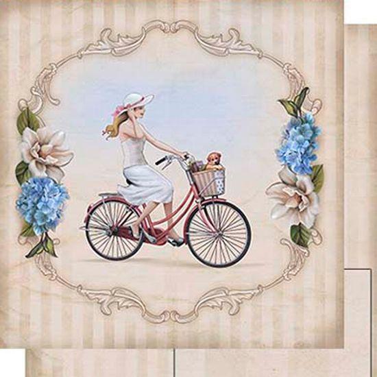 Papel-Scrapbook-Dupla-Face-Mulher-e-Bicicleta-SD-462---Litoarte