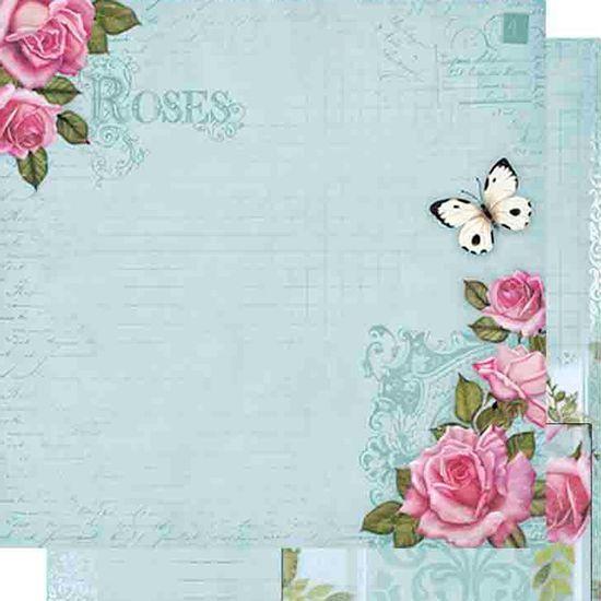 Papel-Scrapbook-Dupla-Face-Rosas-e-Borboletas-SD-476---Litoarte