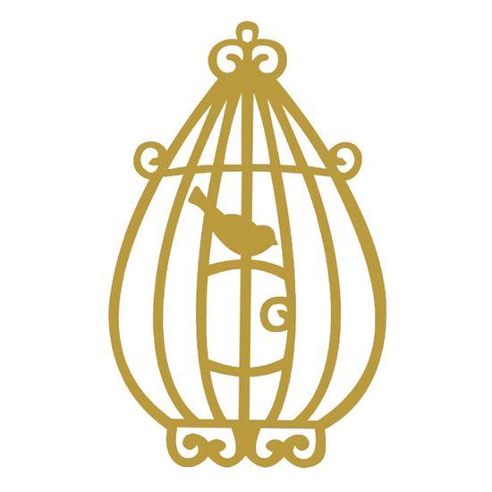 Aplique-Madeira-Decorativa-Gaiola-Passarinho-Dourado-LMD-003---Litocart
