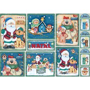 Papel-Decoupage-Natal-Papai-Noel-Cachorro-e-Urso-PDN-108---Litoarte