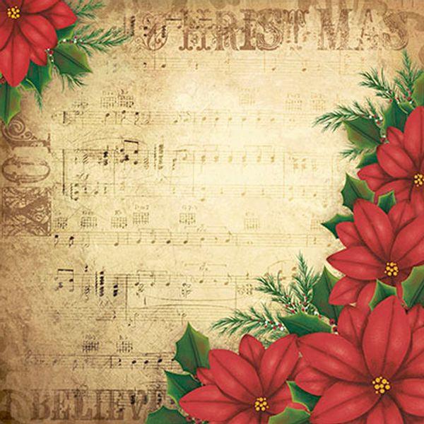 Papel-Scrapbook-Natal-Poinsetia-Vermelha-SDN-012---Litoarte