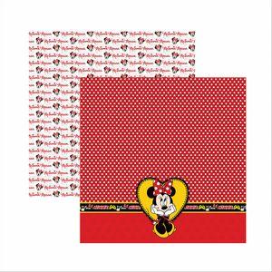 Papel-Scrapbook-Disney-Minnie-Mouse-Barrado-SDFD008---Toke-e-Crie
