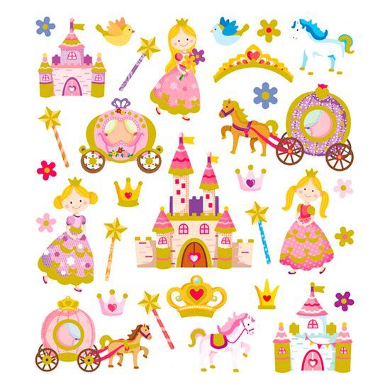 Adesivo-Artesanal-I-Princesa-Encantada-com-Glitter-AD1781---Toke-e-Crie