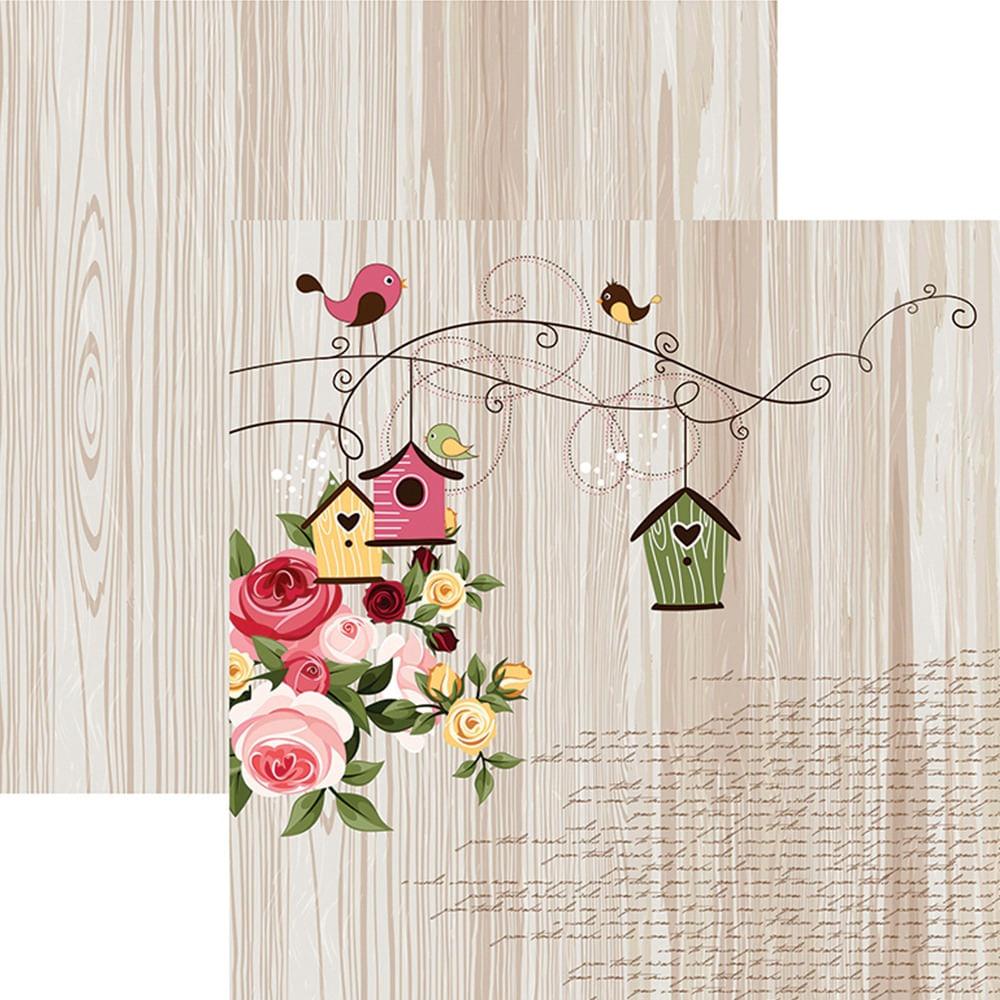 2ed554e41 Papel Scrapbook Dupla Face Encantamento Pássaros e Rosas SDF667 ...