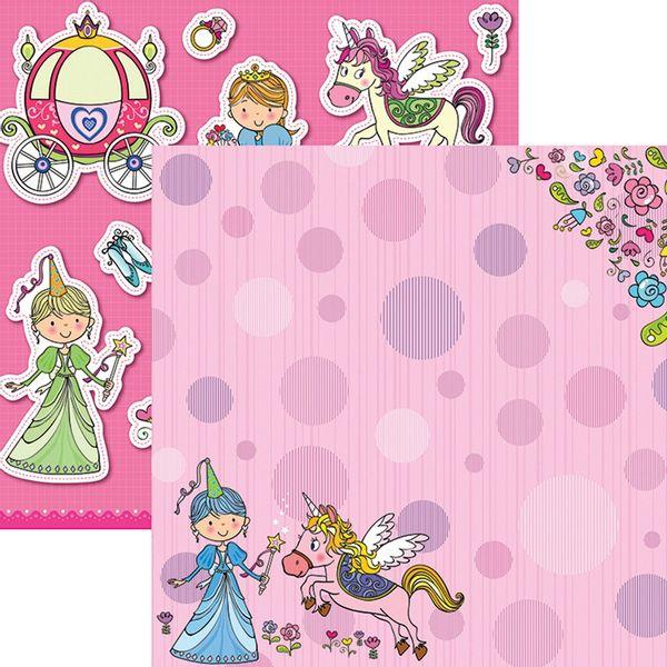 Papel-Scrapbook-Dupla-Face-Princesas-Delicadas-Unicornio-SDF689---Toke-e-Crie