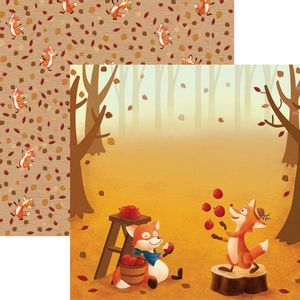 Papel-Scrapbook-Dupla-Face-Raposas-do-Outono-Bosque-SDF683---Toke-e-Crie