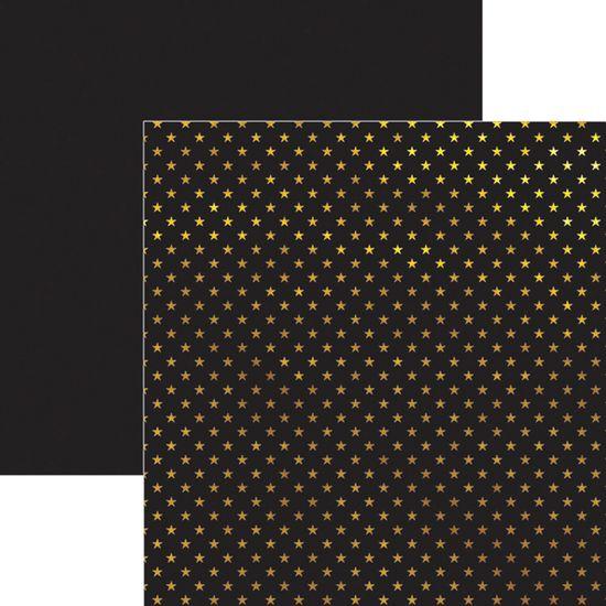 Papel-Scrapbook-Estrelas-Dourado-e-Preto-SDF619---Toke-e-Crie