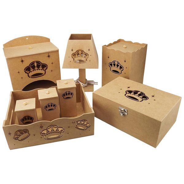Kit-Bebe-Coroa-8-pecas-com-Abajur-e-Farmacinha---MDF-a-Laser