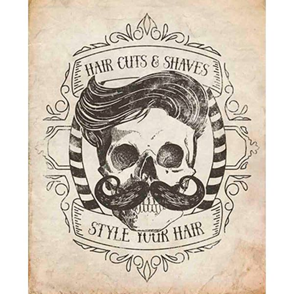 Placa-Decorativa-Barbearia-Hair-Cuts-24x19cm-DHPM-164---Litoarte