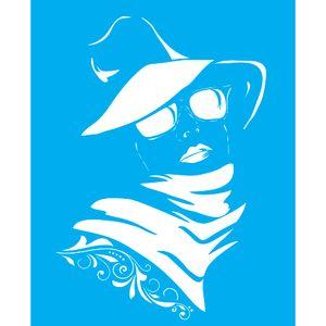 Stencil-para-Pintura-25X20cm-Mulher-de-Chapeu-LSG-083---Litocart