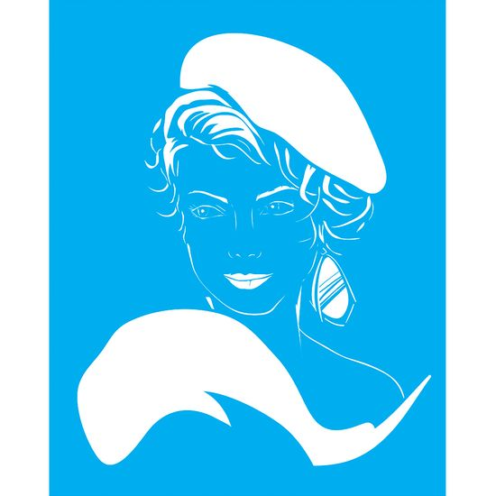 Stencil-para-Pintura-25X20cm-Mulher-de-Boina-LSG-086---Litocart