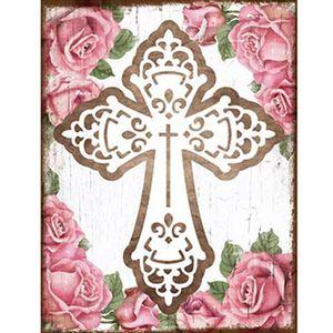 Placa-Decorativa-22x168cm-Cruz-com-Flores-DHPM5-097---Litoarte