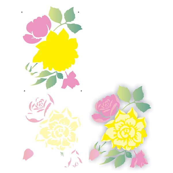 Estencil-para-Pintura-Simples-17x42cm-Flor-Rosas-OPA2177---Opa