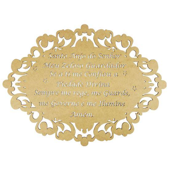 Moldura-em-MDF-Oval-Oracao-Santo-Anjo-do-Senhor-30x215cm-Colonial---Palacio-da-Arte
