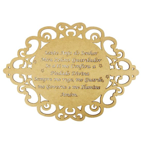Moldura-em-MDF-Oval-Oracao-Santo-Anjo-do-Senhor-40x29cm-Provencal---Palacio-da-Arte