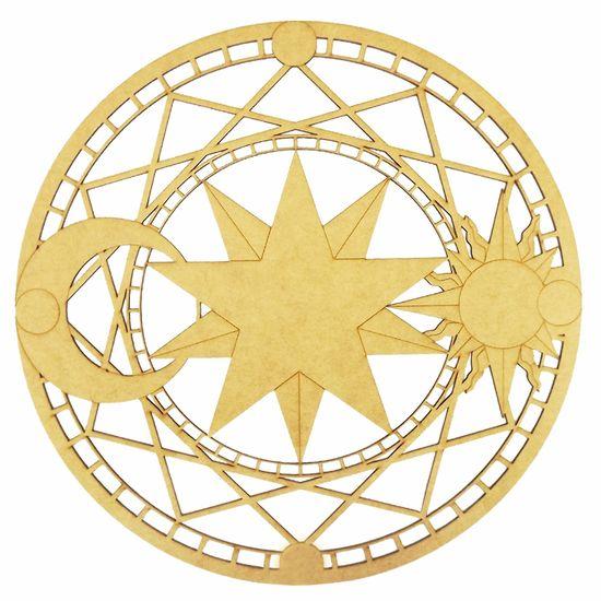 169d42e0614f78 Mandala Sol e Lua em MDF 13x13cm - Palácio da Arte