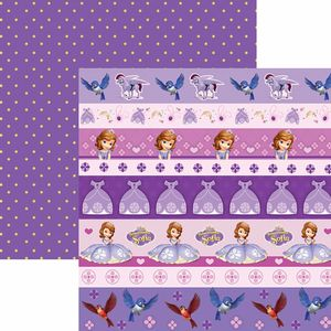 Papel-Scrapbook-Dupla-Face-305x305cm-Princesinha-Sofia-2-Faixas-SDFD-097---Toke-e-Crie