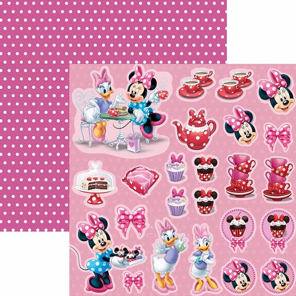 Papel-Scrapbook-Dupla-Face-305x305cm-Hora-do-Cha-com-a-Minnie-2-Recortes-SDFD-108---Toke-e-Crie