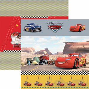 Papel-Scrapbook-Dupla-Face-305x305cm-Carros-1-Cenario-e-Bandeirolas-SDFD-112---Toke-e-Crie