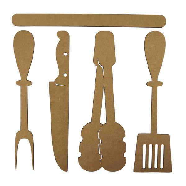 Aplique-Acessorios-para-Churrasco-25cm-em-MDF-com-5-pecas---Palacio-da-Arte