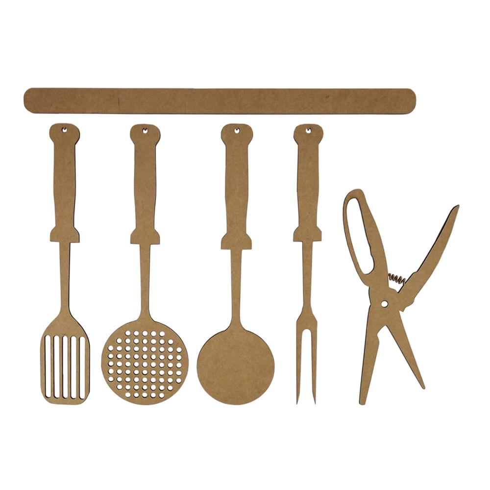 Aplique Utens Lios De Cozinha 25cm Em Mdf Com 6 Pe As Pal Cio Da