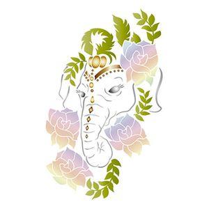 Stencil-Retangular-Elefante-com-Flores-21x344cm-ST-202---Litoarte
