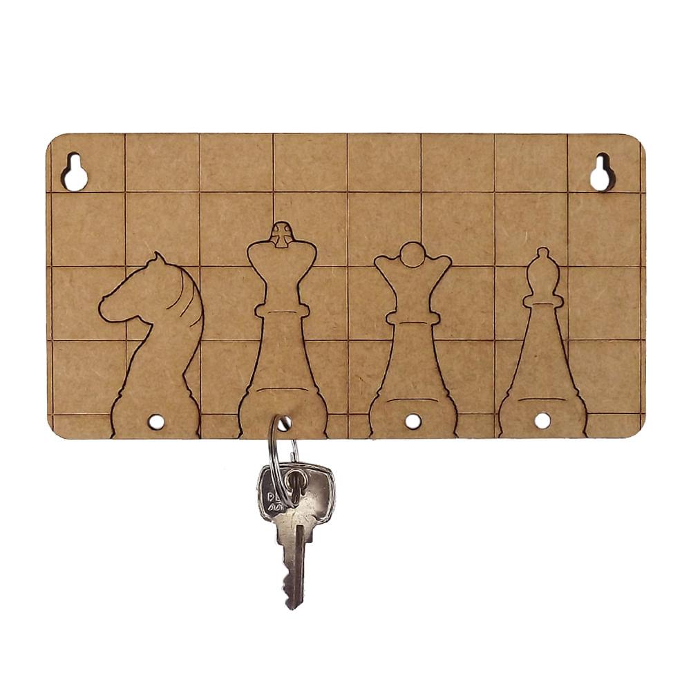 59a1a3492755e Porta Chaves Modular Tabuleiro de Xadrez com 4 Chaveiros em MDF 16x8,1cm -  Palácio da Arte - PalacioDaArte