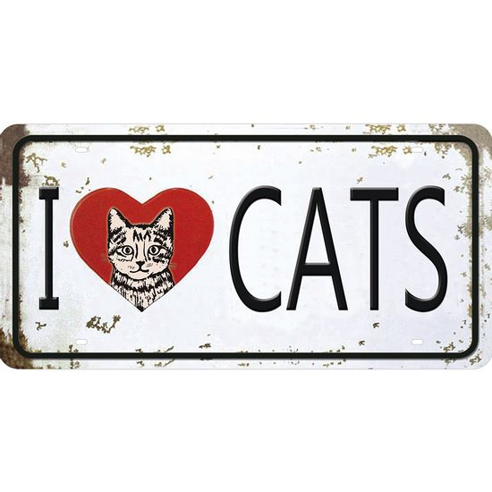 Placa-Decorativa-15x30cm-I-Love-Cats-LPD-057---Litocart