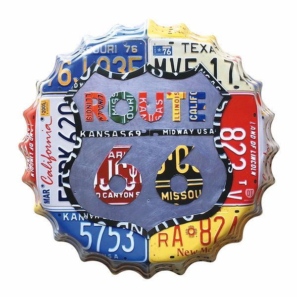 Placa-Decorativa-25x25cm-Route-66-Placas-LPQC-025---Litocart