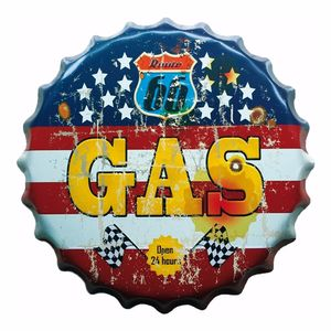 Placa-Decorativa-25x25cm-Route-66-Gas-LPQC-027---Litocart