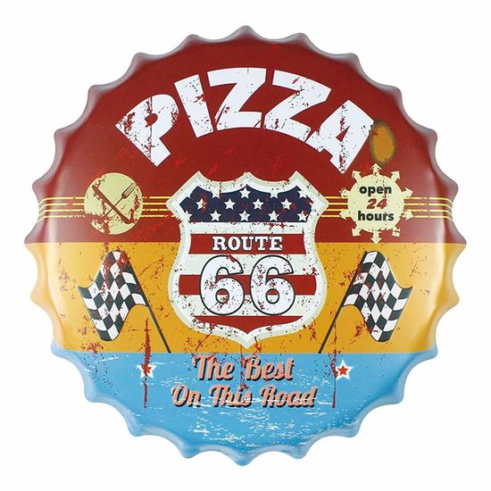 Placa-Decorativa-25x25cm-Route-66-Pizza-LPQC-029---Litocart