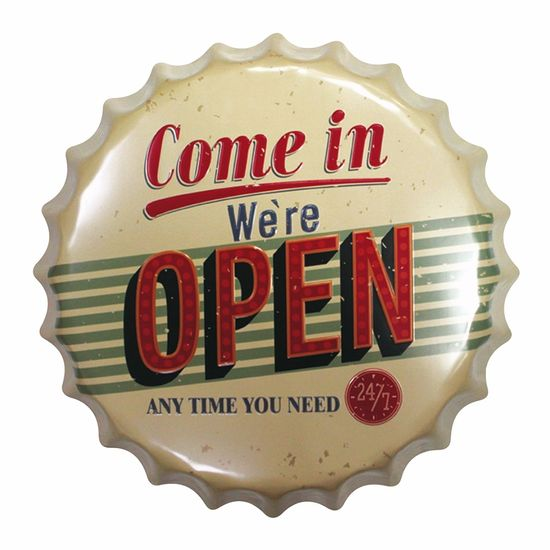 Placa-Decorativa-25x25cm-Come-in-We-re-Open-LPQC-030---Litocart