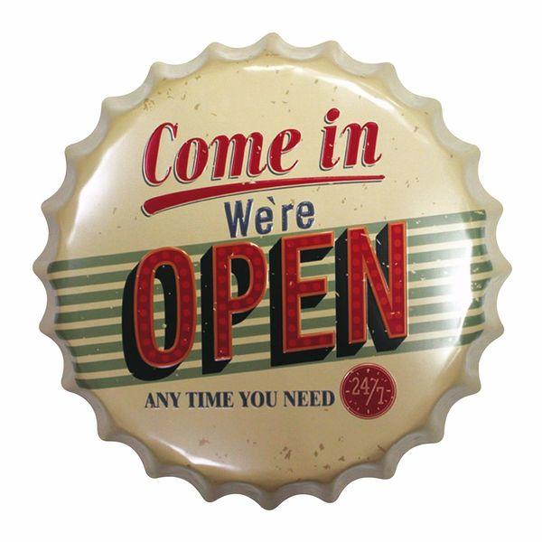 Placa-Decorativa-25x25cm-Come-in-We-re-Open-LPQC-030---Litocart