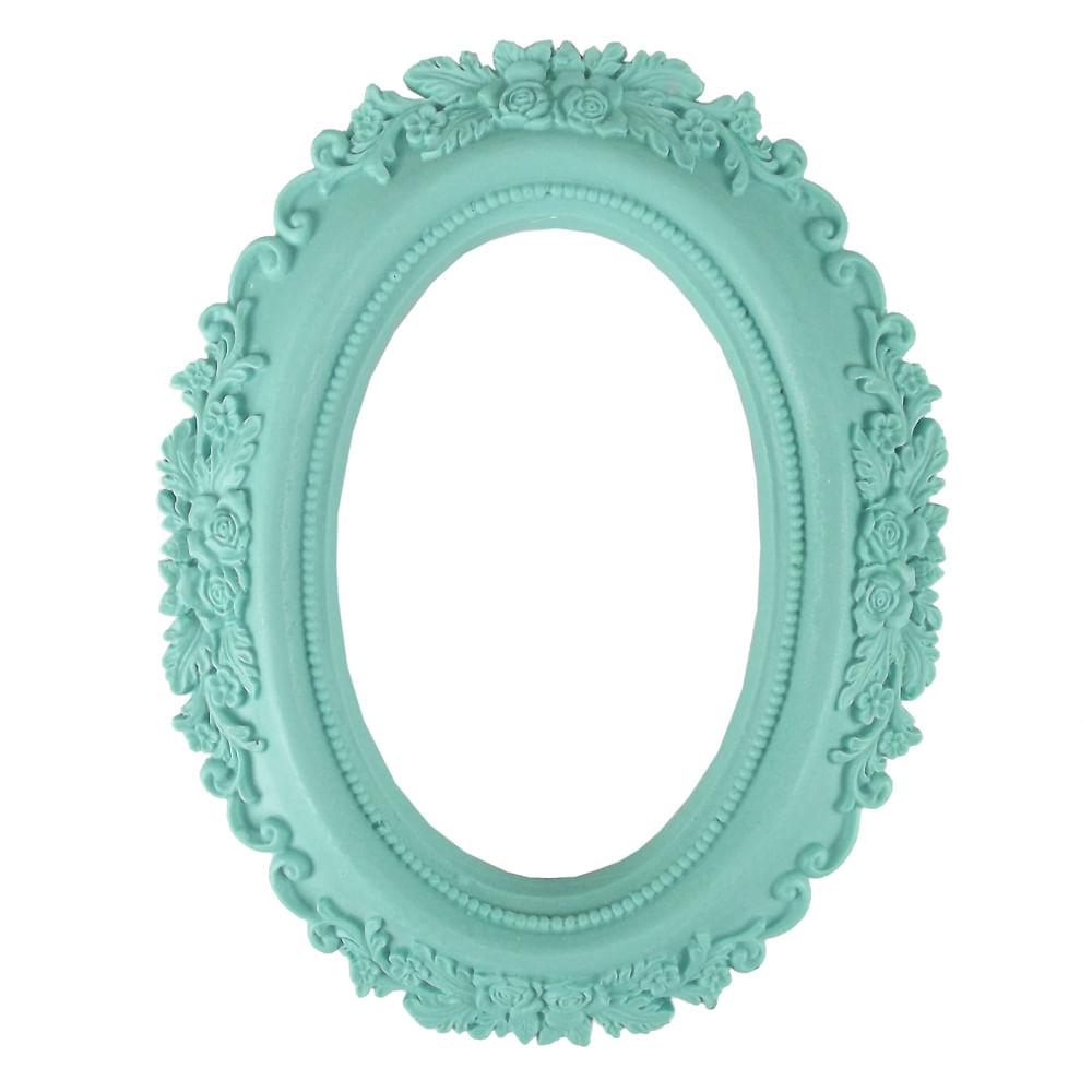 Moldura Oval Rosas 20x16cm Azul Tiffany - Resina - PalacioDaArte 9a79f95c41