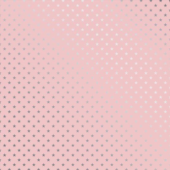 Papel-Scrapbook-Toke-e-Crie-SDF729-Simples-305x305cm-Metalizado-Estrelas-Prateado-Fundo-Rosa