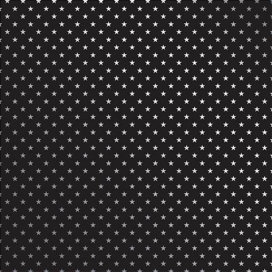 Papel-Scrapbook-Toke-e-Crie-SDF719-Simples-305x305cm-Metalizado-Estrelas-Prateado-Fundo-Preto