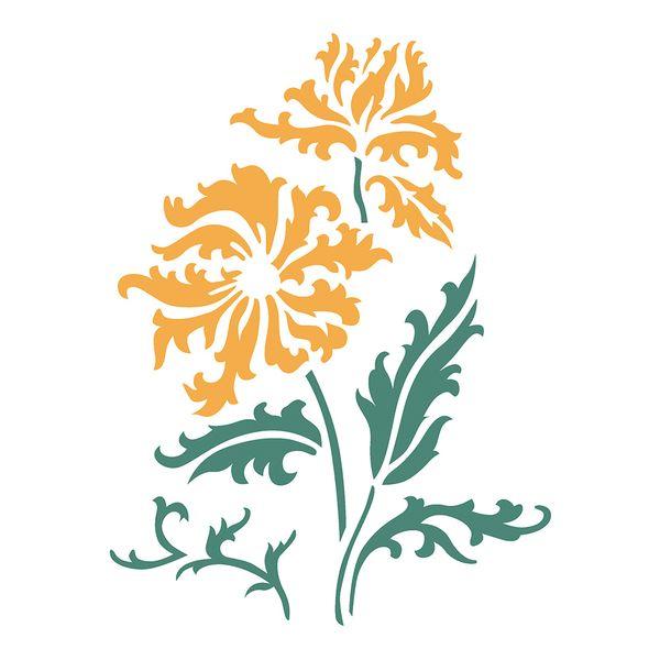Estencil-OPA2277-Pintura-Simples-20X25-Flores-e-Folhas