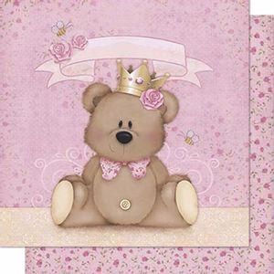 Papel-Scrapbook-Litoarte-SD-602-Dupla-Face-305X305cm-Urso-Coroa-Menina-Rosa