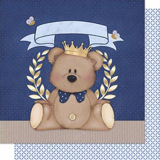 Papel-Scrapbook-Litoarte-SD-604-Dupla-Face-305X305cm-Urso-Coroa-Menino-Azul