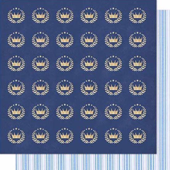 Papel-Scrapbook-Litoarte-SD-605-Dupla-Face-305X305cm-Coroas-e-Ramos-Azul
