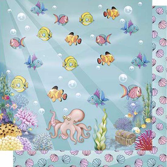 Papel-Scrapbook-Litoarte-SD-615-Dupla-Face-305X305cm-Peixinhos-Fundo-do-Mar