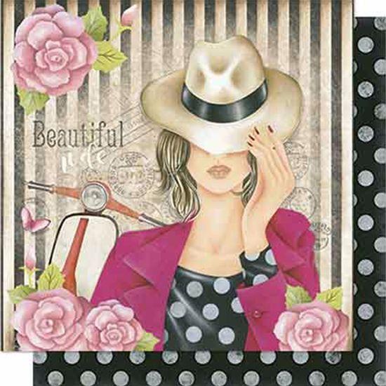 Papel-Scrapbook-Litoarte-SD-630-Dupla-Face-305X305cm-Dama-de-Chapeu-com-Rosas