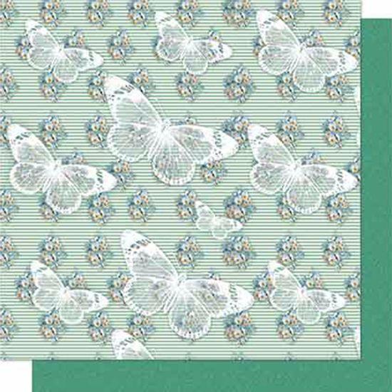 Papel-Scrapbook-Litoarte-SD-639-Dupla-Face-305X305cm-Borboletas-Verde
